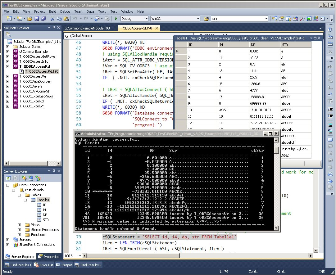 Illus: ForDBC example program (T_ODBCAccessRd) in Visual Studio with Solution- & Server-Explorer